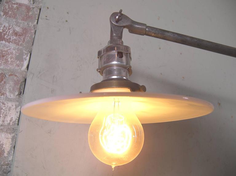 Industrial Milk Glass Floor Lamp For Sale 1