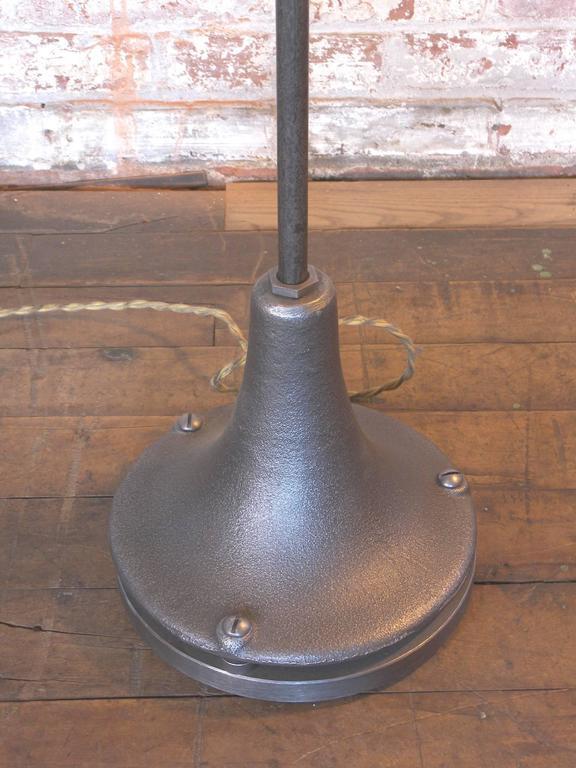Industrial Milk Glass Floor Lamp For Sale 2