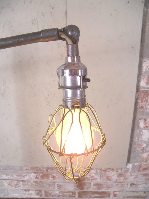 Caged Edison Bulb Reading Lamp Vintage Industrial Cast ...