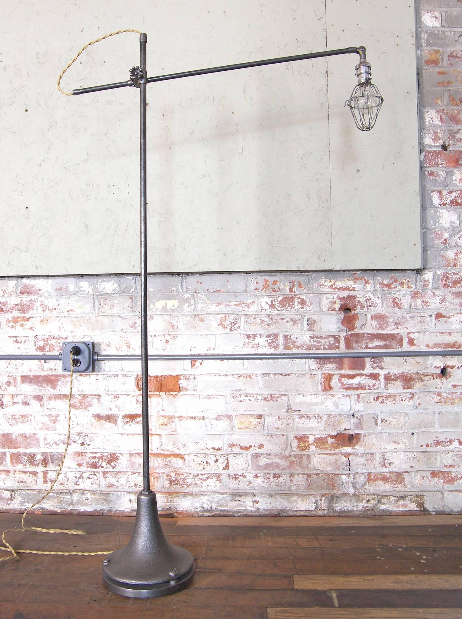 Floor Lamp Caged Edison Bulb Reading Vintage Industrial Cast Iron Task  Light For Sale At 1stdibs
