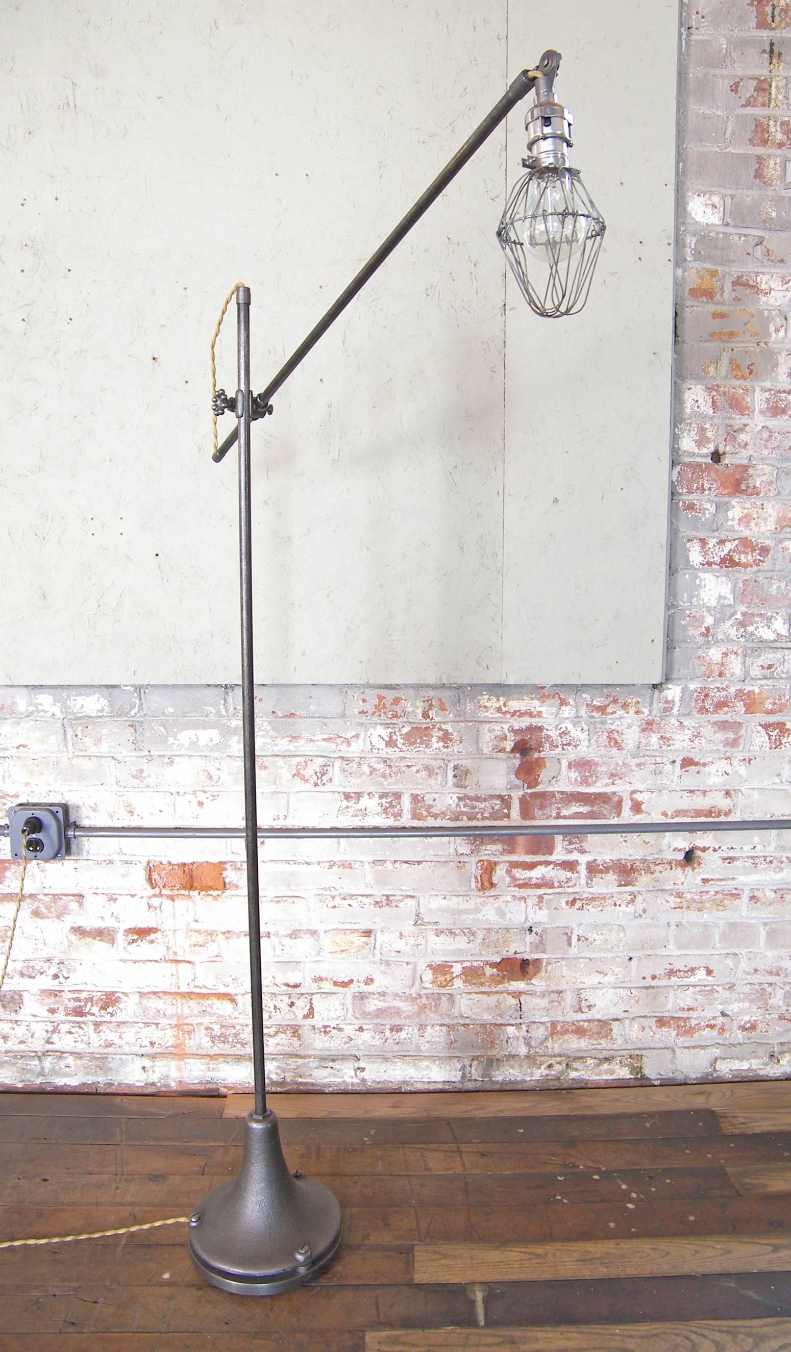 Floor lamp caged edison bulb reading vintage industrial cast iron task light at 1stdibs