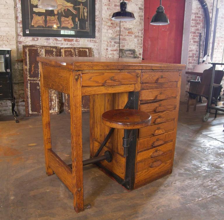 Industrial Vintage Drafting / Lab Table or Desk with Swing out Seat For Sale - Vintage Drafting / Lab Table Or Desk With Swing Out Seat At 1stdibs