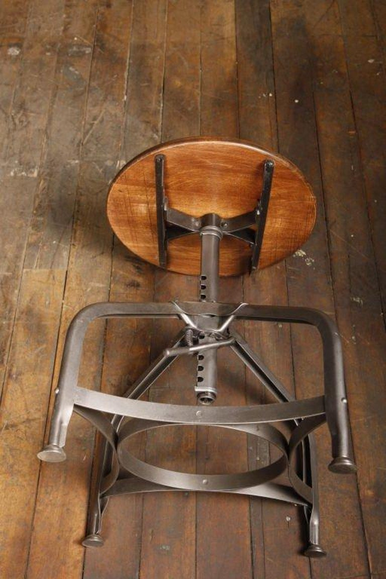 American Backless Vintage Toledo Stool with Adjustable Height & Scooped Maple Seat For Sale