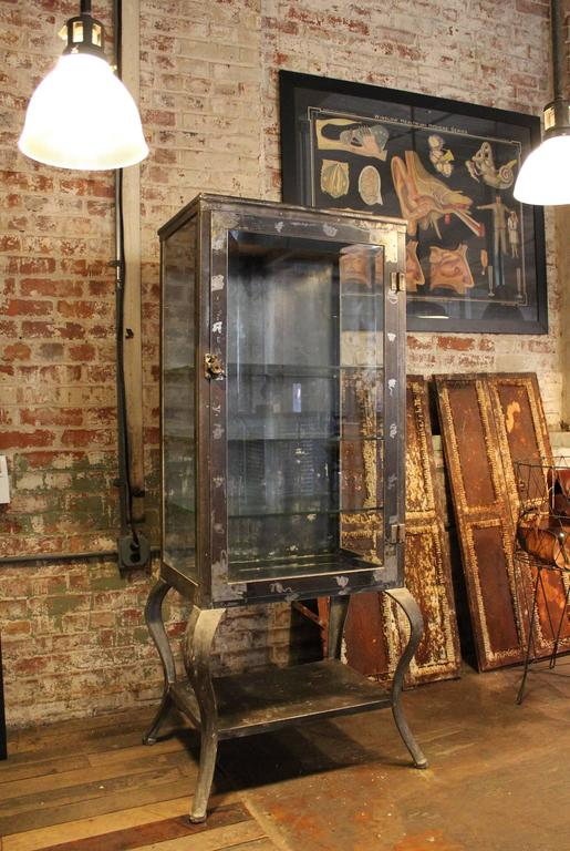 Antique Metal And Glass Doctor S Medical Cabinet At 1stdibs