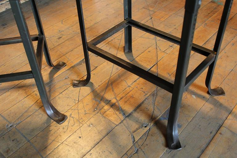 Pair of Counter Bar Stools Vintage Industrial Domore Metal and Wood Adjustable 7