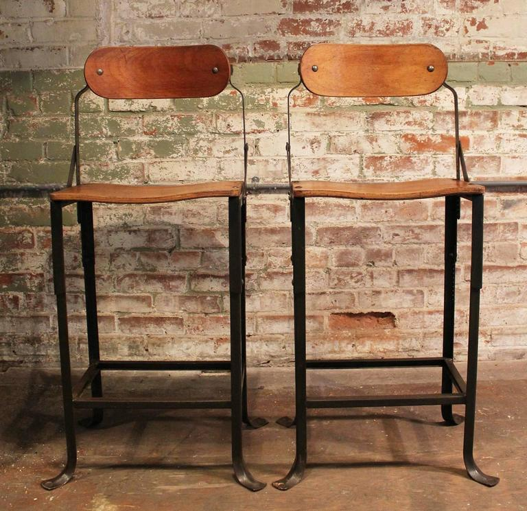 Pair Of Counter Bar Stools Vintage Industrial Domore Metal