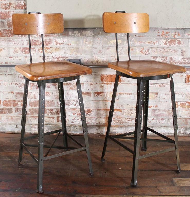 Pair Of Vintage Industrial Adjustable Wood And Metal