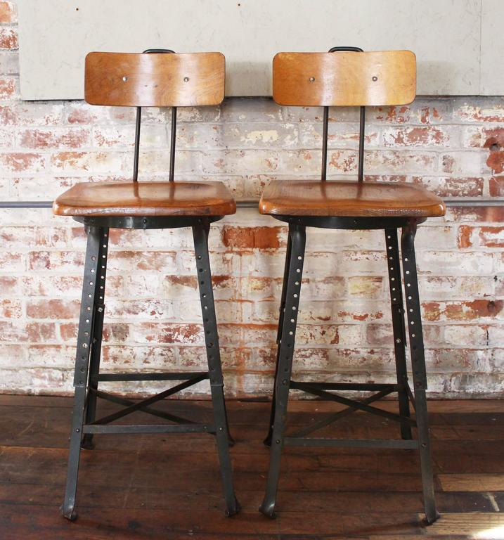 collection of vintage wood and metal bar stools vintage bar