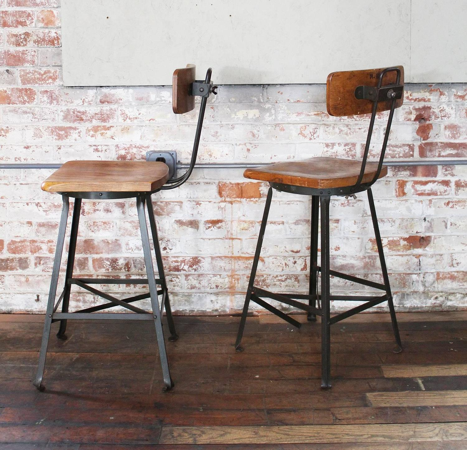 Pair of Vintage Industrial Wood and Metal Bar Stools For  : pairvintageindustrialwoodmetalstoolsadjustablegetbackincset26z from www.1stdibs.com size 1500 x 1444 jpeg 302kB