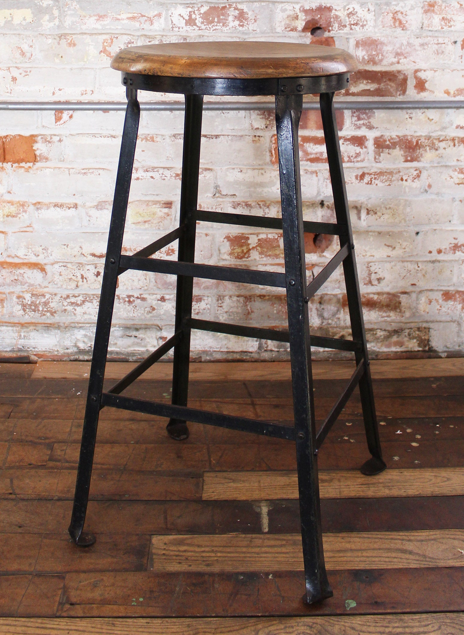 Amazing Vintage Industrial Rustic Wood And Metal Machine Shop Factory Bar Stool Caraccident5 Cool Chair Designs And Ideas Caraccident5Info