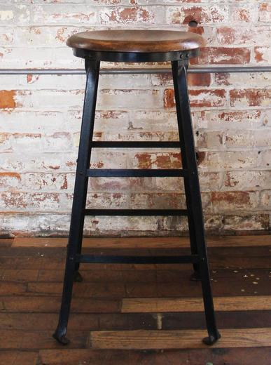 Groovy Vintage Industrial Rustic Wood And Metal Machine Shop Factory Bar Stool Caraccident5 Cool Chair Designs And Ideas Caraccident5Info