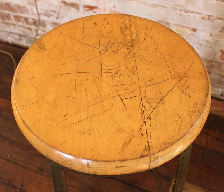 Vintage Industrial Backless Wood And Metal Bar Stool For