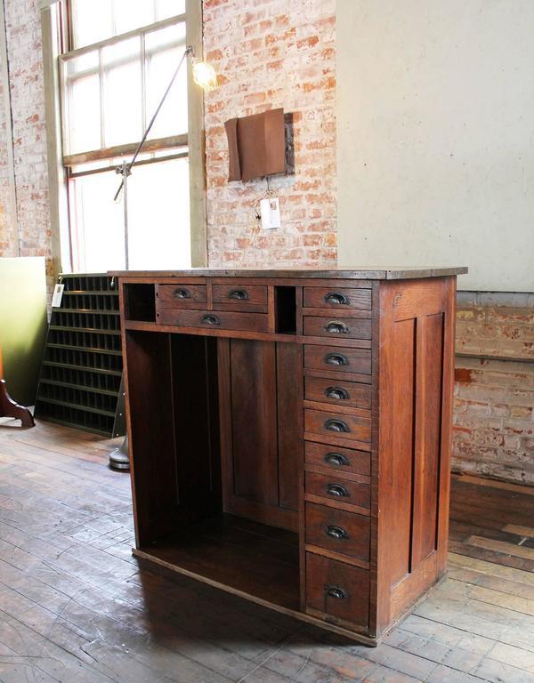 Vintage Oakwood Jeweler S Cabinet Storage Unit Metal
