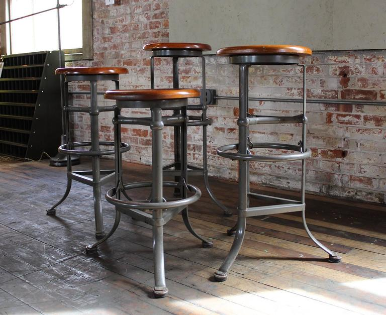 Set of Four  Rite Hite  Automatic Adjustable Vintage Industrial Bar Stools 2 & Set of Four