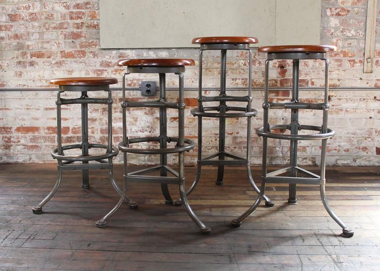 Set of Four  Rite Hite  Automatic Adjustable Vintage Industrial Bar Stools 3 & Set of Four