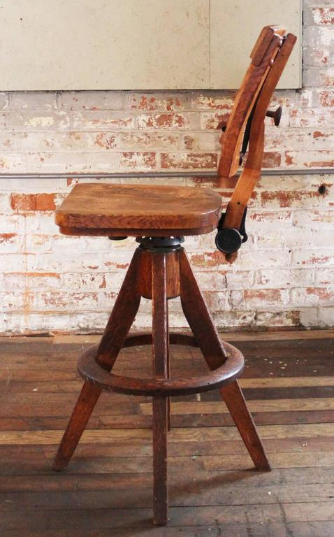 Wooden Drafting Stools ~ Vintage industrial wood and cast iron adjustable drafting
