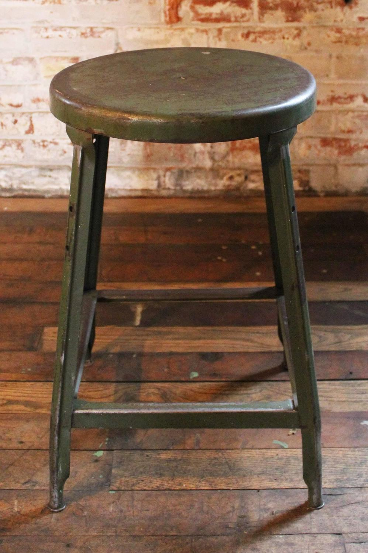 Vintage Industrial Metal Backless Stool For Sale At 1stdibs