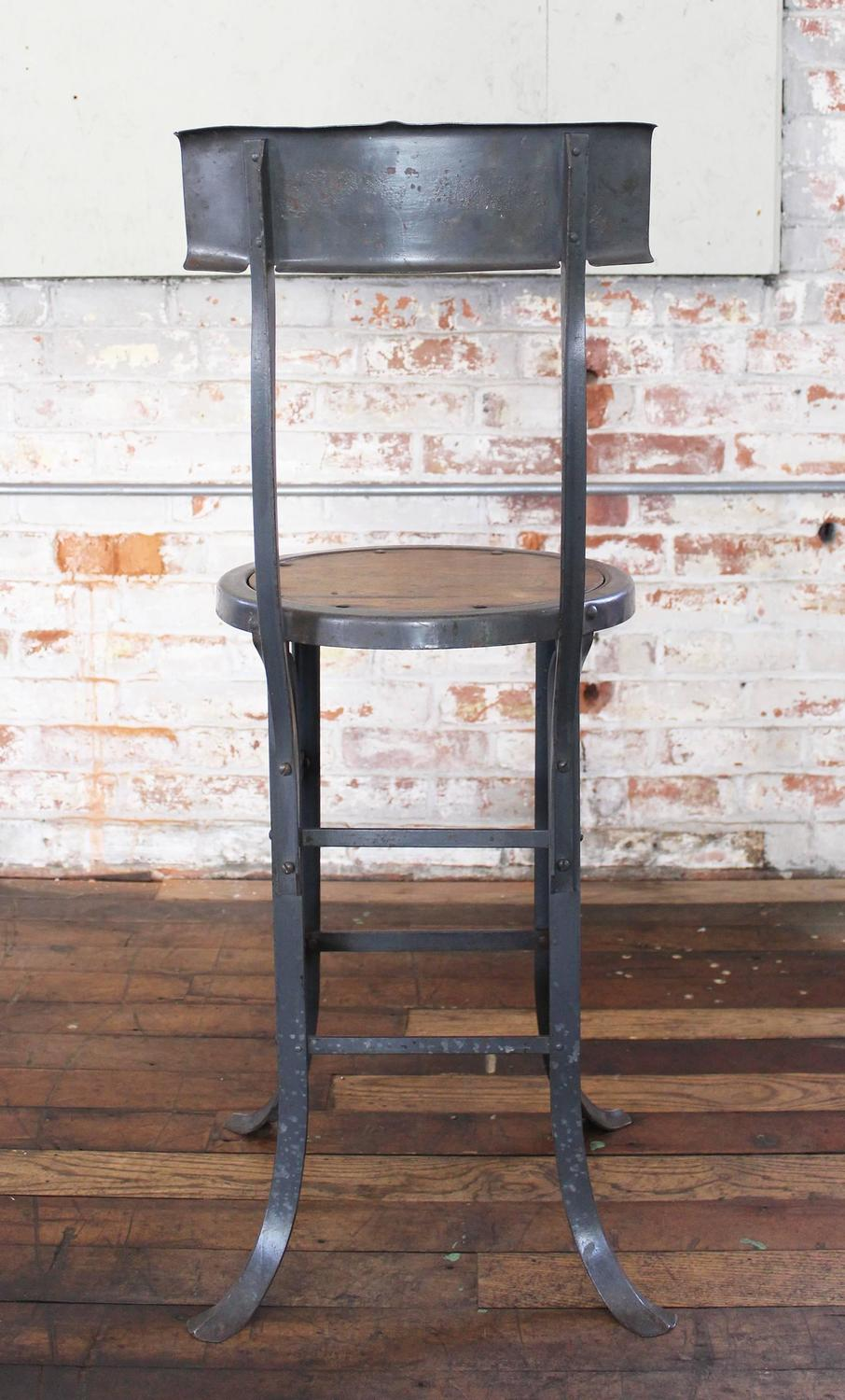 Vintage industrial rustic wood and metal bar kitchen island stool with back for sale at 1stdibs - Industrial kitchen island for sale ...