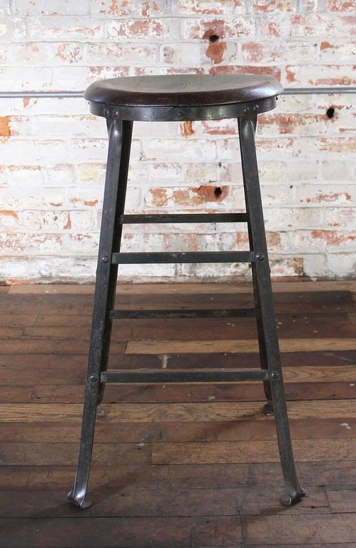 Rustic Bar Stool Backless Kitchen Wood And Metal Great Vintage Patina Solid