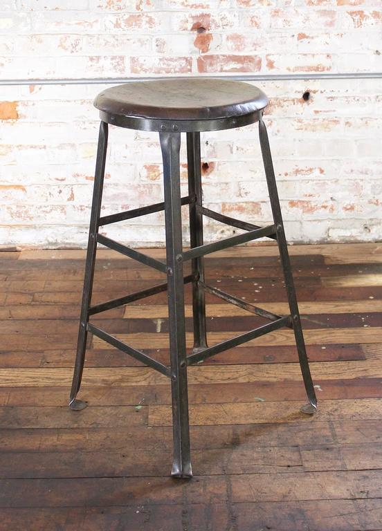 Rustic Bar Stool Backless Kitchen Wood And Metal Bar Stool