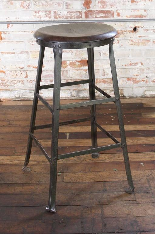 rustic bar stool backless kitchen wood and metal bar stool at 1stdibs