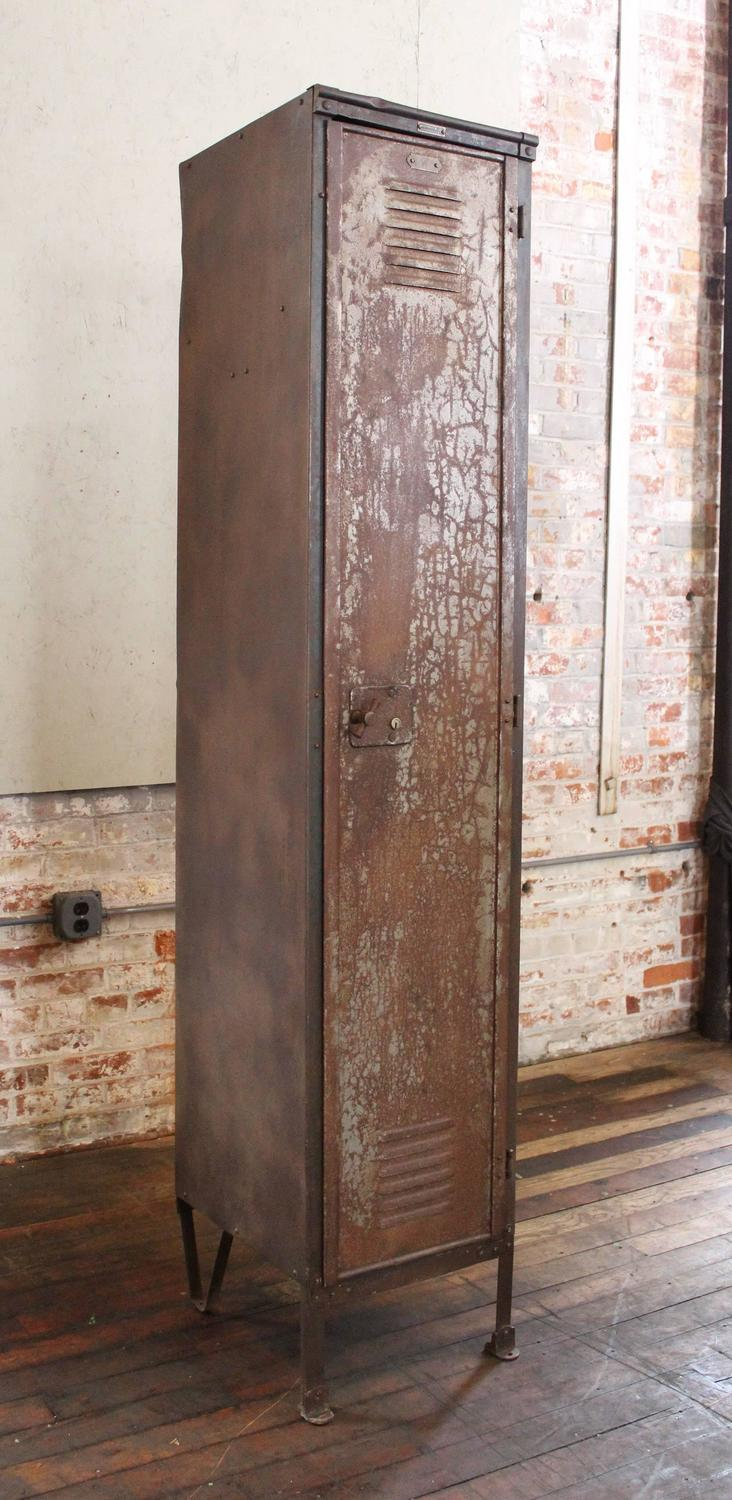 Vintage Industrial Factory Metal Locker Old Steel Storage