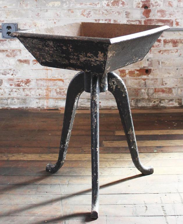 "Incredible cast iron vintage industrial rustic planter table stand art! Use this outside as a planter or object of art, inside as a table, stand, dimensions are 18 3/4"" x 19"" x 26 1/2"" in height. Top measures 5 1/2"" in height,"