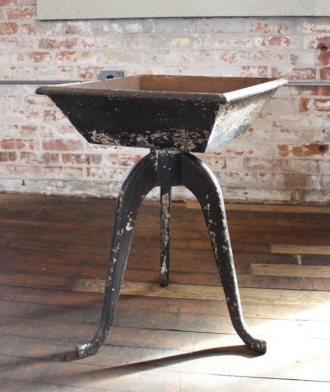 20th Century Rustic Vintage Industrial Cast Iron Planter, Stand Table Art For Sale