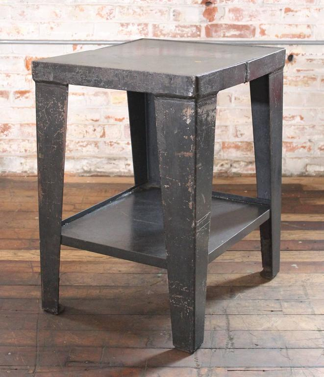 Beau Metal And Steel Industrial Vintage Rustic End Side Table Stand With Shelf.  Dimensions