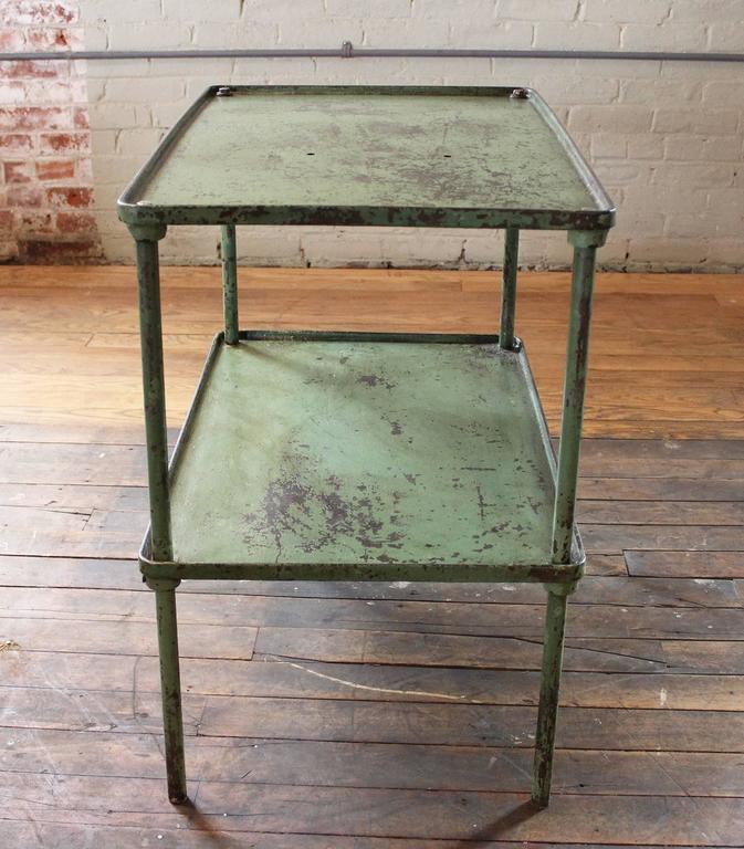 American Vintage Industrial Steel Two Tier Metal Iron Adjustable Table  Storage Bar Cart For Sale