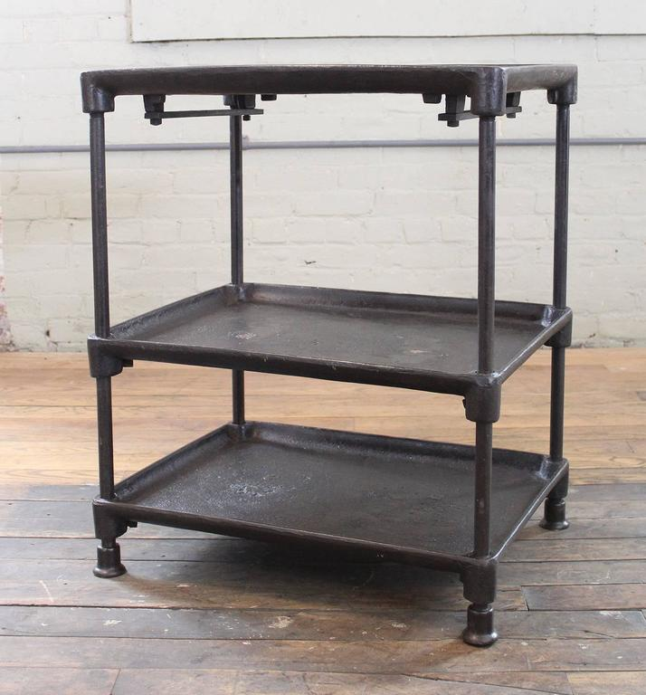 Three Tier Cast Iron Vintage Industrial Side Table, Bar Cart With Adjustable  Shelves And