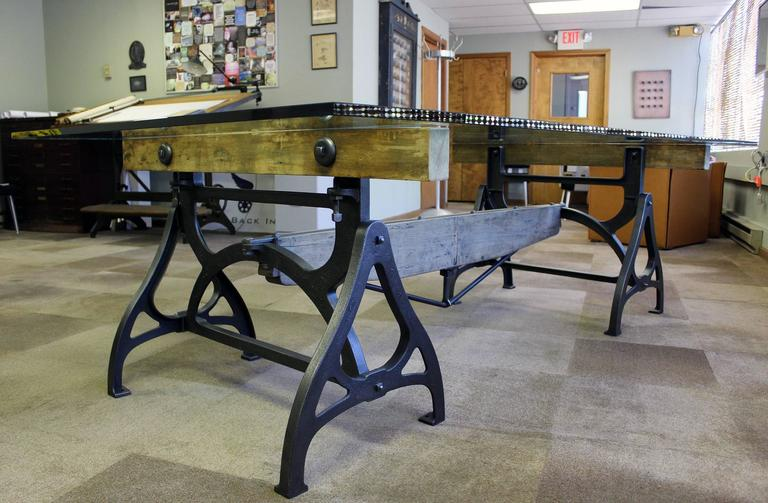 American Conference Dining Table. Vintage Industrial Wood Steel Cast Iron U0026  Glass For Sale