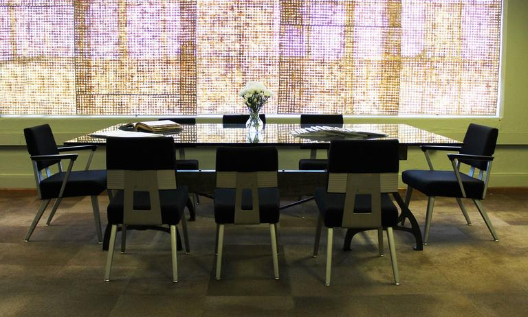 Conference Dining Table. Vintage Industrial Wood Steel ...