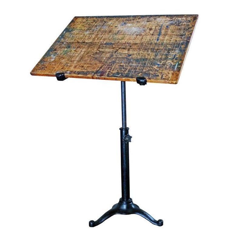 Vintage Pedestal Table Cast Iron Wood Tilt Top Artist Drafting Music Stand 1