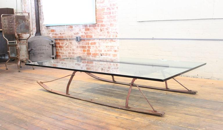 American Coffee Table Vintage Industrial Wood And Glass Sled For Sale