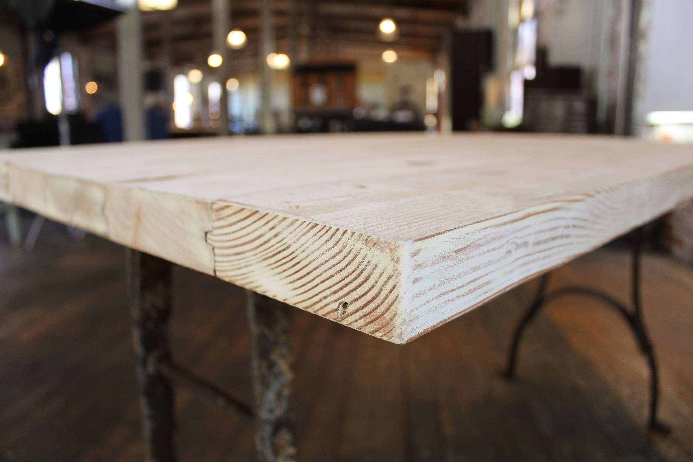 Vintage Table Reclaimed Plank Top Distressed Wood Steel Farm Dining Desk