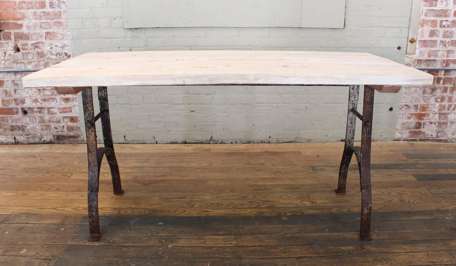 Vintage Industrial Antique Distressed Wood And Steel Farm Dining Table Or Des