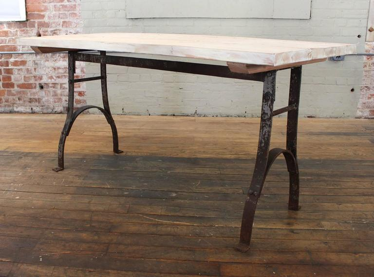 Super Vintage Table Reclaimed Plank Top Distressed Wood Steel Farm Dining Desk Download Free Architecture Designs Pushbritishbridgeorg