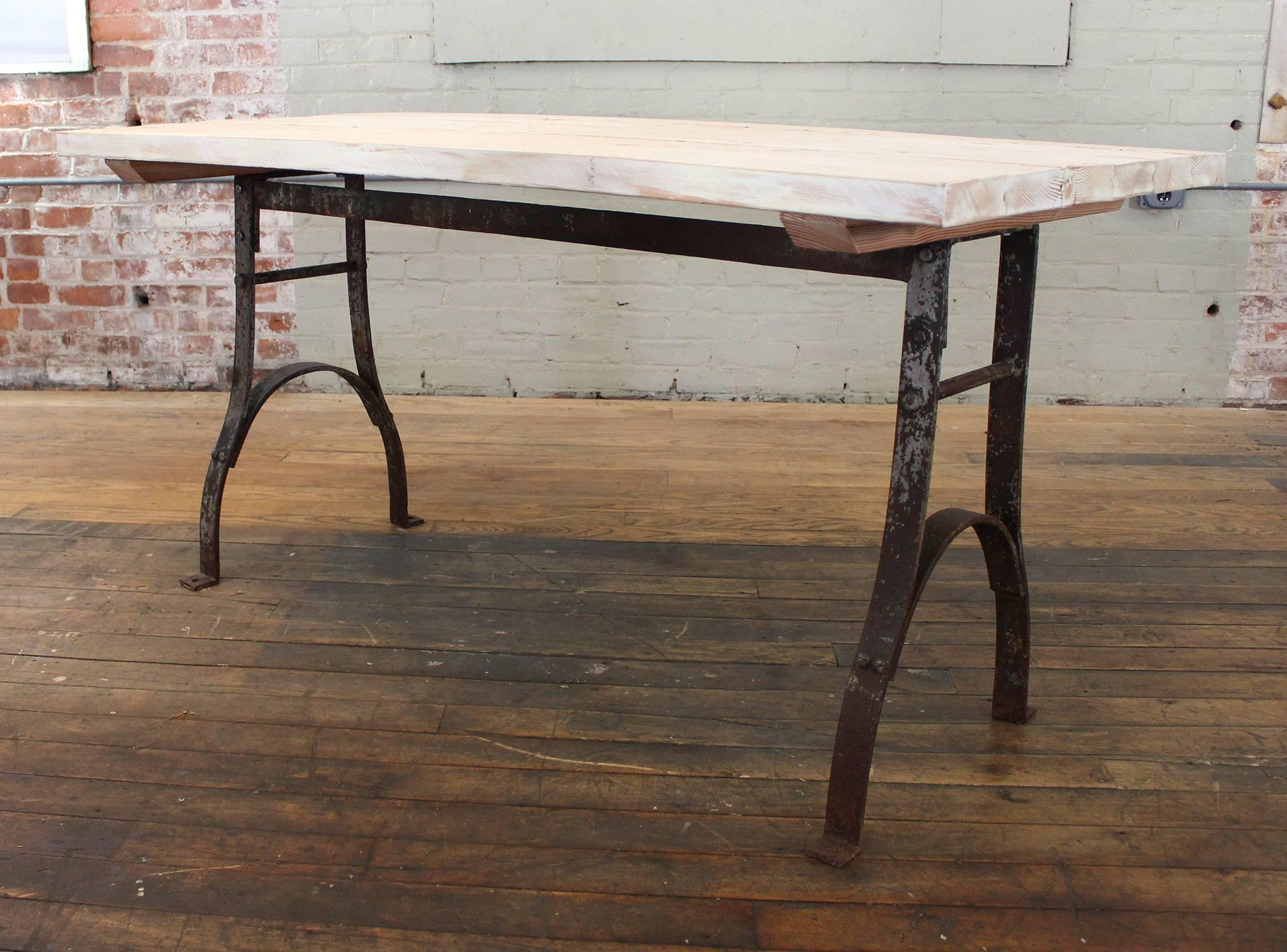 Vintage Table Reclaimed Plank Top Distressed Wood Steel Farm Dining Desk For At 1stdibs