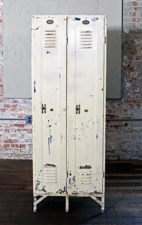 Pair Of Vintage Industrial Steel Metal Lockers With Brass