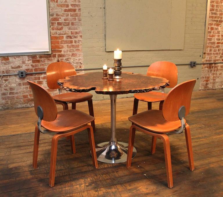 Free Form Burl Walnut Tulip Base Dining Kitchen Table Mid