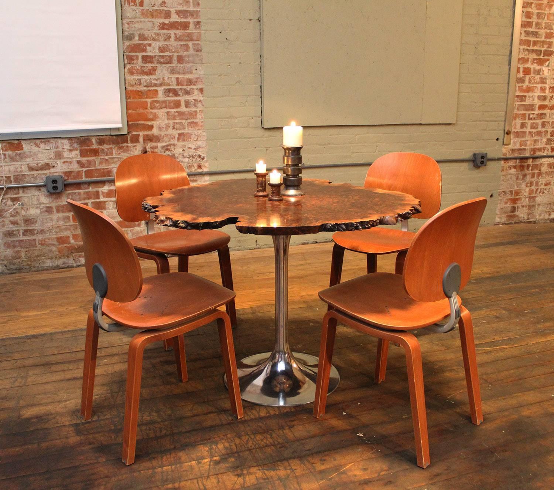 Free Form Burl Walnut Tulip Base Dining Kitchen Table Mid Century Modern At 1stdibs