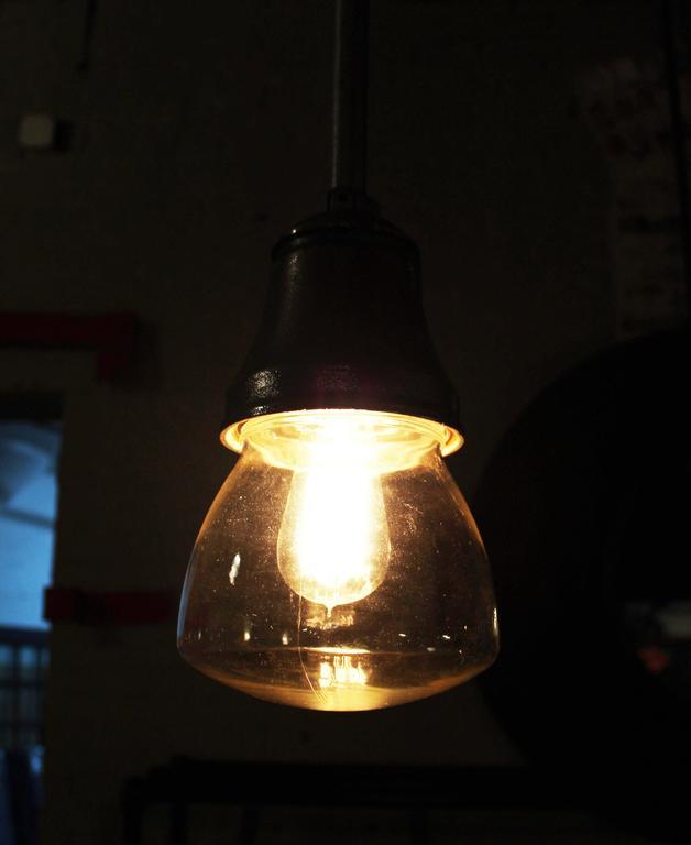 Cast Pendant Lamp Light Polished Aluminum Vintage Industrial Iron Glass Ceiling For Sale