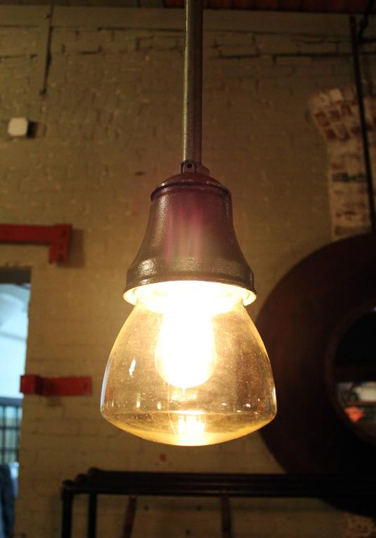 American Pendant Lamp Light Polished Aluminum Vintage Industrial Iron Glass Ceiling For Sale