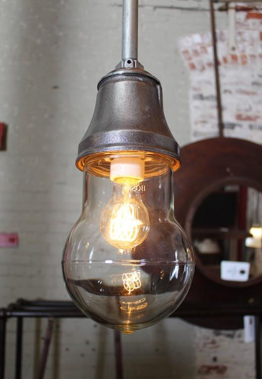 American Vintage Industrial Pendant Cast Iron and Glass Ceiling, Hanging Light, Lamp For Sale