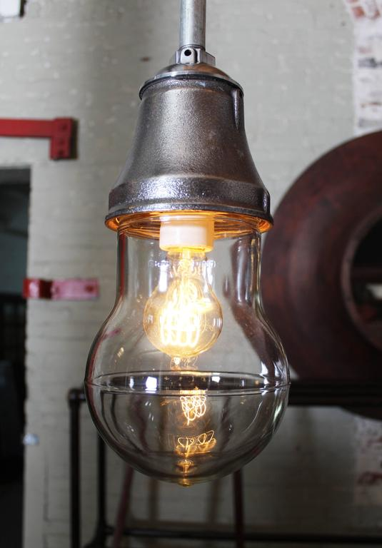 Vintage Industrial Pendant Cast Iron and Glass Ceiling, Hanging Light, Lamp For Sale 1