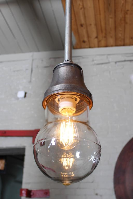 Vintage Industrial Pendant Cast Iron and Glass Ceiling, Hanging Light, Lamp In Good Condition For Sale In Oakville, CT