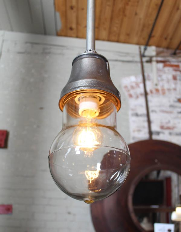20th Century Vintage Industrial Pendant Cast Iron and Glass Ceiling, Hanging Light, Lamp For Sale
