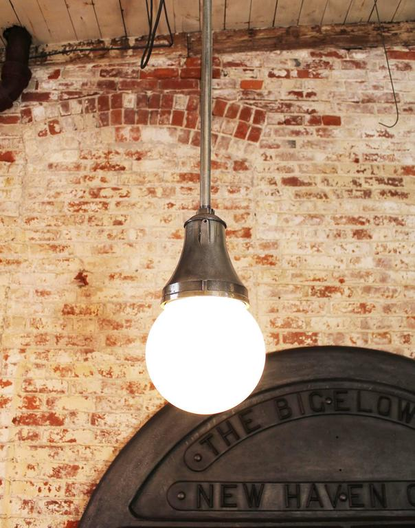Industrial Pendant Light, Lamp Cast Iron Glass Globe Ceiling Hanging  3
