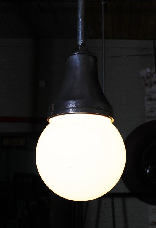 American Industrial Pendant Light, Lamp Cast Iron Glass Globe Ceiling Hanging  For Sale